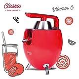 NEW CHEF - Exprimidor Zumo Eléctrico Juicer Classic Rojo para Naranjas y Cítricos, 300W con Doble Cono, Sist. Antigoteo y ON/OFF Automático. Máquina Exprimidora de Zumo Desmontable y de Fácil Limpieza