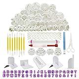RETON 116 Piezas Kit de Herramientas para Decorar Pasteles Fondant - Incluye Cortadores de Émbolos Fondant Sugarcraft Icing, Alfabeto y Números de Molde, Pasador de Rodillo Fondant y Más Suave