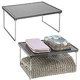 mDesign Juego de 2 estantes adicionales para ropa – Balda auxiliar de metal y plástico para sumar espacio de almacenaje en armarios – También útil como organizador de armarios de cocina – gris pizarra
