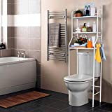 T-LoVendo 1 Estanteria sobre Inodoro WC Lavadora Ahorra Espacio Almacenamiento Cuarto Baño, Blanco, 153 x 63 x 25 cm