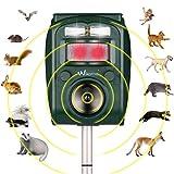Krobot Ahuyentador de animales, solar, por ultrasonidos, resistente al agua, ahuyentador de perros, martas, pájaros, 5 modos ajustables