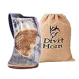 Divit Horn Auténtica Jarra Vikinga en Forma de para Beber | auténtico Jarro de Cerveza Medieval en Forma de Cuerno | Capacidad de 24 oz (700 ml) | La Jarra/jarro en Forma de Cuerno (Fenrir, Polished)