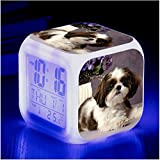 HHIAK666 Animal World Pet Dog 7 Color Color Ing-Up Reloj De Alarma Creativa, Led Alarma Electrónica De Regalo 6