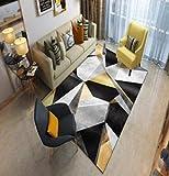 TANGYUAN Alfombra Interior Exterior Balcón Resistente Intemperie - Sofá Alfombra Pintura al óleo 3D Exquisito Arte Costura geométrica diseño-El 120x 160CM