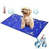 Wimypet Alfombra Refrescante para Perro, Alfombrilla para Animales, Manta de Dormir Fresco para Perros/Gatos, No Tóxico Mascotas y Gatos en Verano (con Copo de Nieve)(50 * 90cm)