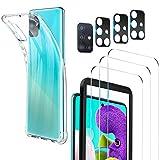 Luibor [7 in 1] Cristal Templado Samsung Galaxy A51 + Funda Samsung A51 + Cámara Protector de Pantalla,[9H Dureza] [Compatible con la Funda] [Equipado con Soporte de Montaje más Seguro]