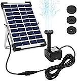 Ankway Bomba Solar 12V con Cable de 3,25M/128, 5W Kit Bomba de Agua Solar Sumergible con Soporte para jardín Estanque Patio Piscina poza, la circulación del Agua, Flujo máximo 380L/H(84gal /h)