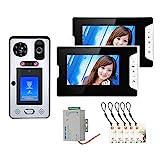 Videoportero, Kits de sistema de intercomunicación de Timbre de Video de 7 pulgadas, RFIC cámara + 2 monitor, con desbloqueo de tarjeta IC de huella digital de reconocimiento facial