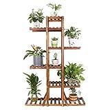 unho Soporte de Madera para Plantas Estantería para Macetas Flores con 6 Niveles Estantería Decorativa para Jardín Balcón Exterior Interior 131×90×25cm