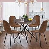 HOMYCASA - Juego de 4 sillas de comedor escandinavas estilo industrial retro vintage PU tapizado asiento comedor silla de cocina con patas de metal negro