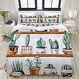 Big horn deer Juego de Cama, Microfibra, Planta de Cactus,1 Juego de Funda nórdica 220 x 240 cm+2 Fundas de Almohada 50x80cm