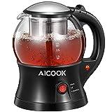 AICOOK Tetera eléctrica, hervidor eléctrico y tetera 2 en 1 con infusor de té de acero inoxidable extraíble, función de aislamiento y sistema de protección contra ebullición en seco, sin BPA, 750 W