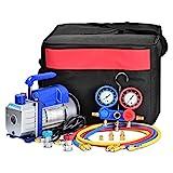 Kwasyo Bomba de Vacío 3CFM,1/4HP, Juego de Manómetros Diagnósticos, para la Reparación de Equipos de Aire Acondicionado y Refrigeración Ideal para R22, R134a, R410A, R407C