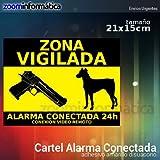 alarmaszoom Pegatina Alarma CONECTADA VIGILANCIA DISUASORIO Perro Pistola VIGILANCIA Casas Campo DISUASORIA para Uso Exterior Seguridad CAMARAS VIGILANCIA