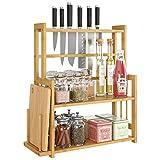 HOMECHO Especiero de Pie con Soportes para Cuchillos y Tabla de Cortar Estanterías para Botes de Especias de 3 Estantes Ajustables Organizador de Encimera para Cocina Baño Estudio Bambú 47.7x18x53.5cm