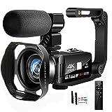 Videocamara 4K Camara de Video 48MP Videocámara de Visión Nocturna WIFI Videocámara con Pantalla Táctil de 3.0 'con Estabilizador de Mano y Micrófono