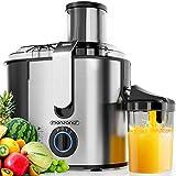 Monzana Licuadora para frutas y verduras exprimidor de zumo extractor de jugo 1100W 2 velocidades Acero inoxidable sano