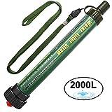 DeFe Filtro de Agua 2000L Personal Sistema de Filtración de Agua Mini Purificador de Agua Portátil para Excursionismo Campamento Acampada Supervivencia y Preparación de Emergencias