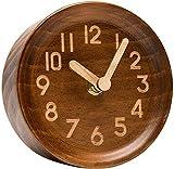 Reloj Despertador Mesa de Escritorio de Madera Reloj analógico Hecho de Pino Genuino, Funciona con Pilas con Reloj de Barrido silencioso preciso Junto a la Cama