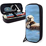 Otter Sea Pup Baby Ocean Wildlife Animal Cute Pen Estuche para lápices Cuero Gran capacidad Cremalleras dobles Bolsa para lápices Bolsa 20 * 9 * 4 cm
