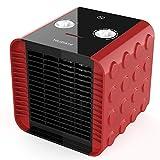 HeiPard Calefactor Portátil Eléctrico,PTC Elemento de Cerámica Ventilador Calefactor de Aire Caliente 1500W / 750W / 5W con Viento Calor y Natural,3 Configuraciones de Temperatura (Rojo)