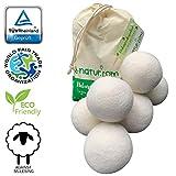 Bolas de secadora 8-Natur extragrandes XXL, paquete de 6: la alternativa natural a los productos químicos, hecha de lana merino 100 % pura