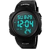 Reloj de pulsera deportivo SunJas, resistente al agua 50m, alarma, calendario, para hombre, mujer, multifunción universal de reloj analógico, SunJas, negro