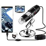 Microscopio Digital USB, endoscopio de Aumento 40X-1000X de Mano Bysameyee, Mini cámara de Video de 8 LED para Windows 7/8/10 Mac Linux Android (con OTG)
