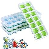 BEYAOBN 4 Pack Bandeja Hielo,Moldes de Silicona con Tapa,sin BPA,Ice Mold para Congelarse Alimentos para Bebés, Agua, Cola, Cócteles, Whisky(Verde y Azul)