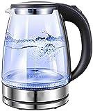 Hervidor eléctrico de Vidrio Iluminado, hervidor de Agua Caliente de 1,8 l, hervidor de Agua para té, Apagado automático, protección para hervir y secar, 1500 W, Negro
