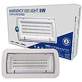 Luz de Emergencia LED estanca 8w. IP65, superficie, 450 lumenes, 2 Horas de Autonomía Color Blanco Frío (6500K). Impermeable, resistente al agua.