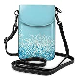 Lawenp Monedero pequeño para teléfono celular con bandolera para mujer, fondo de vector de vida marina con bolso de hombro de corales Billetera con ranuras para tarjetas de crédito