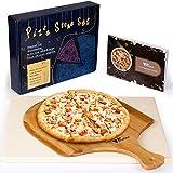 Amzdeal Juego de Piedra para Pizza y Pala - Piedra deCordierita para Horno con Pala de Bambú, Bandeja para Parrilla o Grill, Set de Pizza Stone para Pollo, Pan o Galleta 30*38*1.5 CM