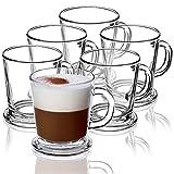 Juego de 6 vasos de té Kadax con asa, tazas de cristal para 6 personas, aptas para lavavajillas, vasos para café, té, agua, zumo, bebidas, zumo, zumo, vasos de agua, juego de vasos