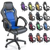 TRESKO Racing Silla de oficina silla de escritorio silla de ordenador silla giratoria disponible en 14 colores, bicolor, silla Gaming ergonómica, pistón de gas certificado por SGS, silla adecuada para niños mayores (Negro / Azul)