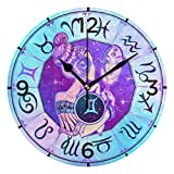 Butty Retro Zodiac Gemini Space Galaxy Reloj de Pared silencioso sin tictac para niños Niñas Relojes con Pilas para Sala de Estar Dormitorio