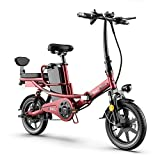TANCEQI Bicicleta Electrica Plegables 350W Motor Adulto, City Mountain Bicycle Booster 14 Pulgadas para Mujeres Hombres/Bicicleta De Montaña Ciudad Pantalla LCD Frenos De Disco 3 Modos,Rojo