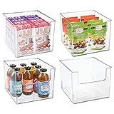 mDesign Juego de 4 cajas de almacenamiento de alimentos – Organizador de frigorífico, armario o arcón congelador con frontal abierto – Caja de plástico para frigorífico sin BPA – transparente