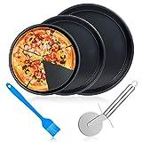 ceuao Juego de 3 Bandejas Pizza Horno Redondas, Antiadherentes, Acero al Carbono, 10 Pulgadas, 9 Pulgadas, 8 Pulgadas, Plato Pizza para Fiestas Familiares de Cocina