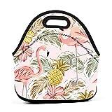 Bolsas de almuerzo Tote Men - Bolsos Bento portátiles de viaje - Flamenco rosa tropical Piñas Flores de hibisco Ramos Hojas de palma