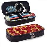 XCNGG Salchicha al horno Pizza PU Cuero Lápiz Estuche para bolígrafo Bolsa con cremallera Útiles escolares para estudiantes Monedero Bolsa de maquillaje cosmético