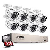 ZOSI Kit de Cámaras de Seguridad PoE 8CH 5MP PoE NVR + (8) Cámara de Vigilancia Exterior + 2TB Disco Duro, Visión Nocturna, Detección de Movimiento