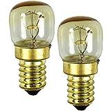COM-FOUR® lámpara de horno 2x hasta 300° C, bombilla de luz de estufa blanca cálida 15W, E14, 230V (02 piezas - color oro 15W)