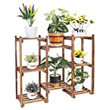 Estantería para Macetas de Madera, 84 x 25 x 70cm Soporte de Plantas Exterior Interior, Estantería Decorativa de Flores con 8 Niveles