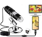 Microscopio Digital USB 1080P 50X a 1600X 8 LED Digital Mini Cámara de endoscopio con Adaptador OTG y Soporte, Microscope Compatible con Android Windows 7 8 10 Linux Mac