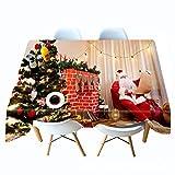 XLLJA Mantel Impreso en 3D Santa mira la Lista de Mantel Personalizado Mantel-W_50cm * L_50cm,Manteles de Mesa de Estilo Moderno para Mesa de Comedor Cocina Jardín y Bar