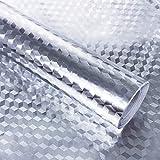 Hode Aluminio Papel Adhesivo para Cocina Mueble Armario Cajón Vinilo Decorativo Autoadhesivo Impermeable Resistente al Aceite Plateado 40X300cm
