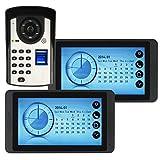 Videoportero de 7'Intercomunicador de timbre Videoportero Juego de intercomunicación con llave 1 cámara 2 monitores Botón táctil ID Tarjetas RFID/Desbloqueo de código Visión nocturna