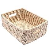 Cesta trenzada de hoja de palma, rectangular con mango, para estanterías, fabricada a mano, Comercio Justo