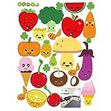VORCOOL Pegatinas de Pared extraíble de Dibujos Animados de Frutas y Verduras Pegatinas de Pared de Vinilo Fondos de Escritorio de DIY calcomanías para la Cocina Nevera 45 x 60 cm